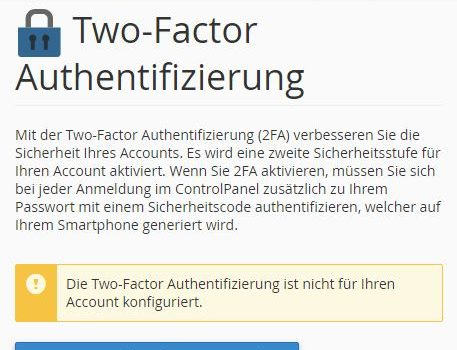 2FA in C-Panel einrichten
